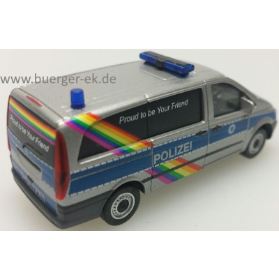 Mercedes-Benz Vito Bus, Polizei Bremen - Proud to be Your Friend, silber/blau mit Regenbogen-Design